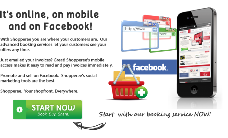 Shopperee is where your customers are on Facebook, mobile and browser.  Shopperee enables easy invoicing and payments.