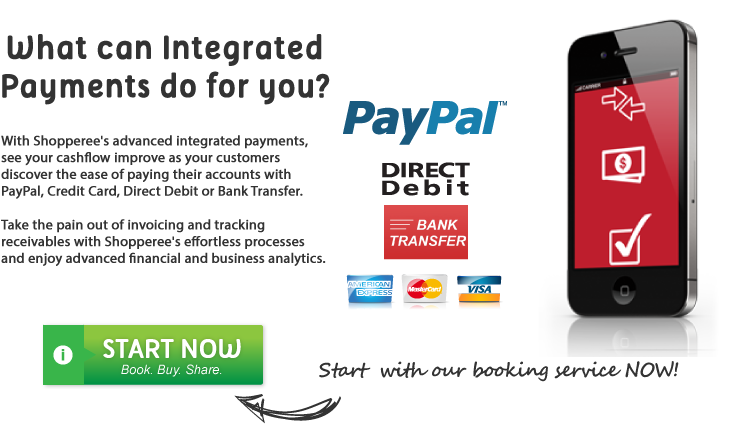 Shopperee enables improved cashflow with reduced payment friction accepting PayPal, Credit Card, Direct Debit or Bank Transfer.  Take the pain out of invoicing and tracking receivables with Shopperee's advanced financial and business analytics.